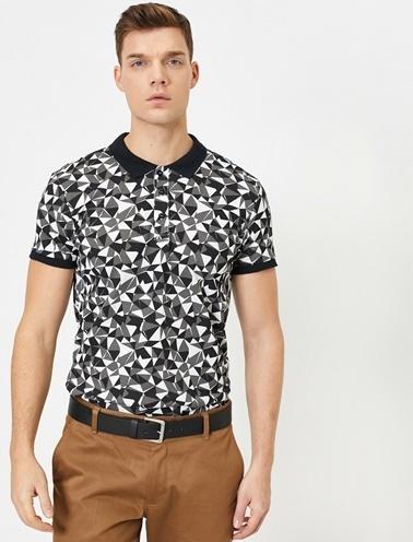 Koton Desenli T-Shirt Siyah
